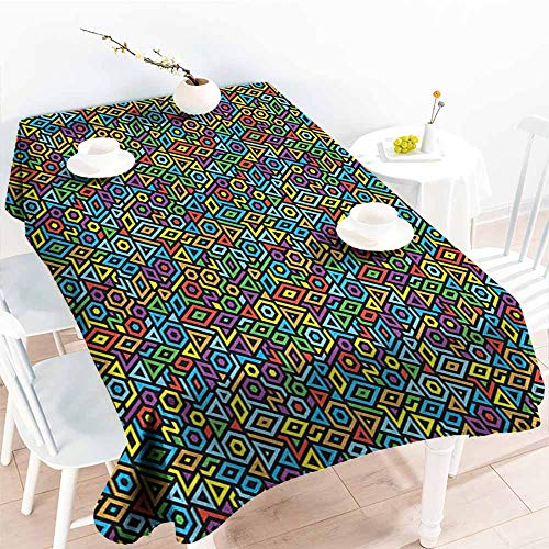 EwaskyOnline Water Resistant Table Cloth,Colorful Various Different Geometrical