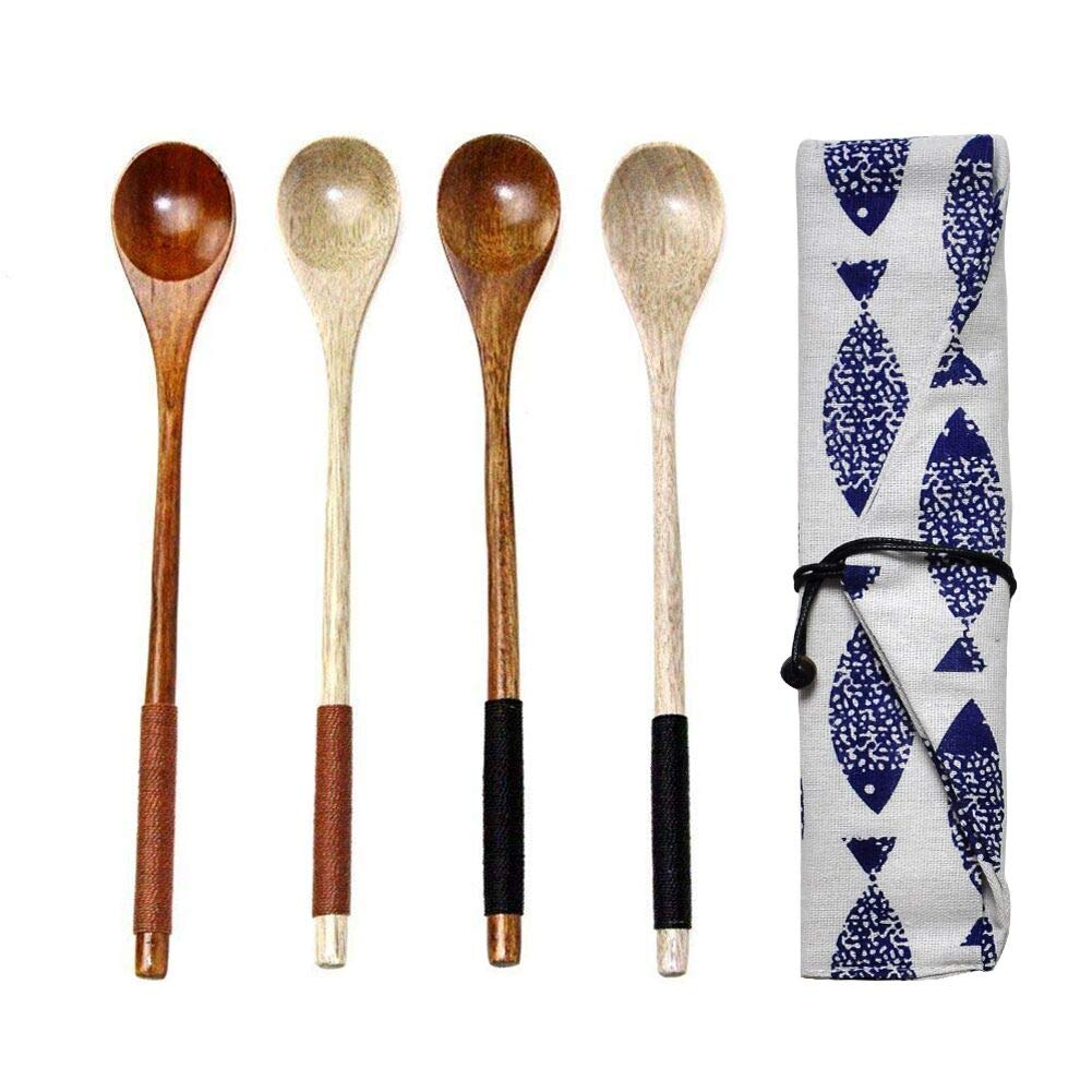 EQLEF 4PCS Natural Wood Coffee Tea Spoon Long Handle Wood Mixing Spoon EQLEF®