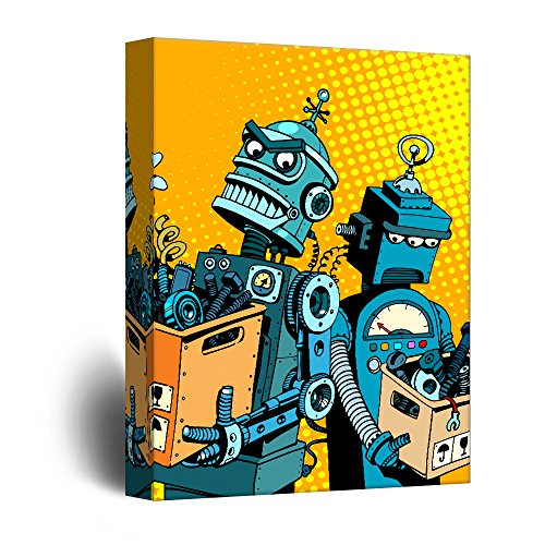 Robots Comic Style Pop Art Illustration