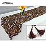YESURPRISE Polyester Embroidered Table Runner Coffee 40x150cm