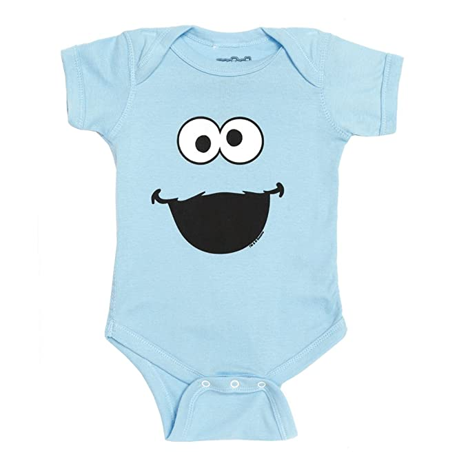00191f0fb623 Amazon.com  Sesame Street Cookie Monster Face Baby Romper Snapsuit ...
