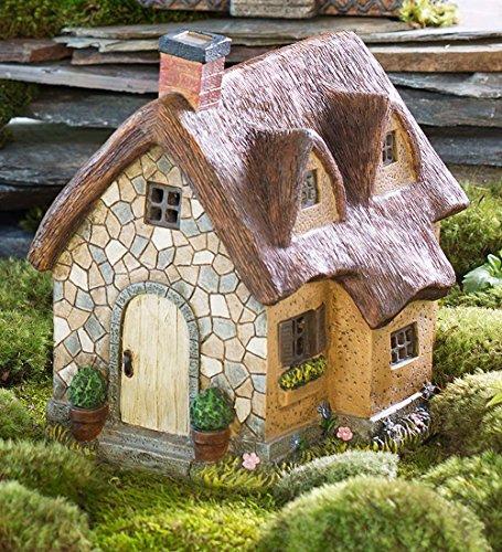 (Miniature Fairy Garden Solar Thatched Cottage )
