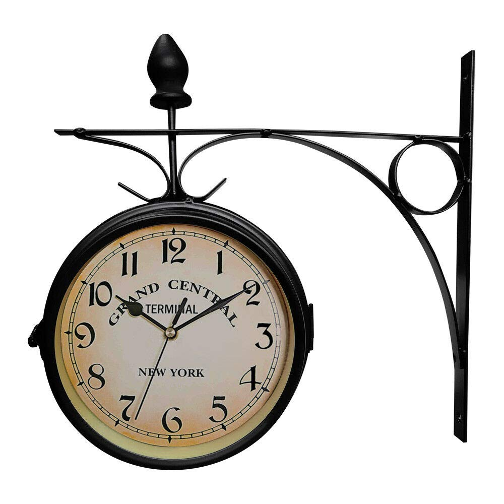 Sasimaxshop Metal Antique Wall Mount Clock Double Sided Garden Hallway Outdoor Station Double Side with Bracket 9.25x 8.66x2.95 inches L x W x H Antique Style Black