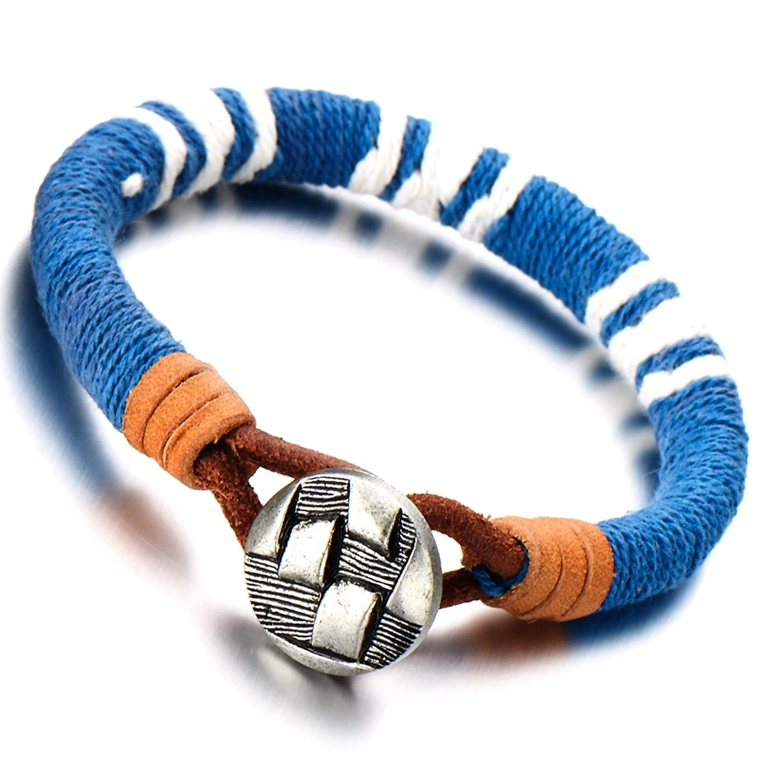 Unisex Braided Bracelet Cuff Bangle for Man and Women with Light Blue Cotton