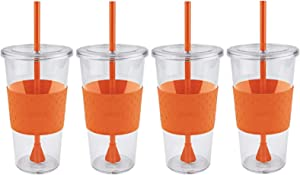 Copco Sierra Single Wall Tritan Cold Tumbler with Removable Straw and Spill Resistant Lid, 24-Ounce, 4 Pack (Orange)