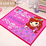 FADFAY Sweet Pink Princess Carpet Cartoon Kids Rug Fairy Girls Bedroom Floor Mat 100*133cm(39''*52'')