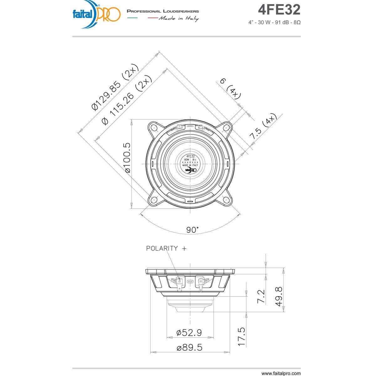 Pair Faital Pro 4fe32 4 Neodymium Full Range Linearray Line Array Speaker Wiring Diagram Woofer 8ohm 60w Home Audio Theater