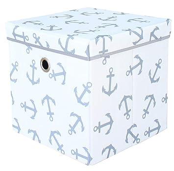 Mirio Aufbewahrungsbox Mit Deckel Spielzeugkiste Kinderzimmer Kinder Storage Ordnungsbox Weiss Mit Grauen Ankern Sehr Stabil Geruchsarm 33x33x33cm Amazon De Baby