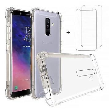 DYGG Compatible con Funda para Samsung Galaxy a6 Plus/a6+, Carcasa Forro Transparente TPU Silicona Flexible Case+[2* Protector de Pantalla]
