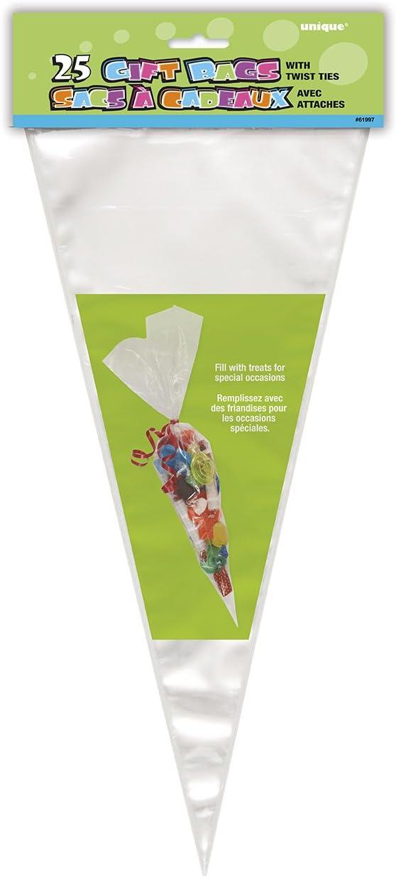 Unique Party- Paquete de 25 bolsas cono grande de celofán, Color transparente (61997)