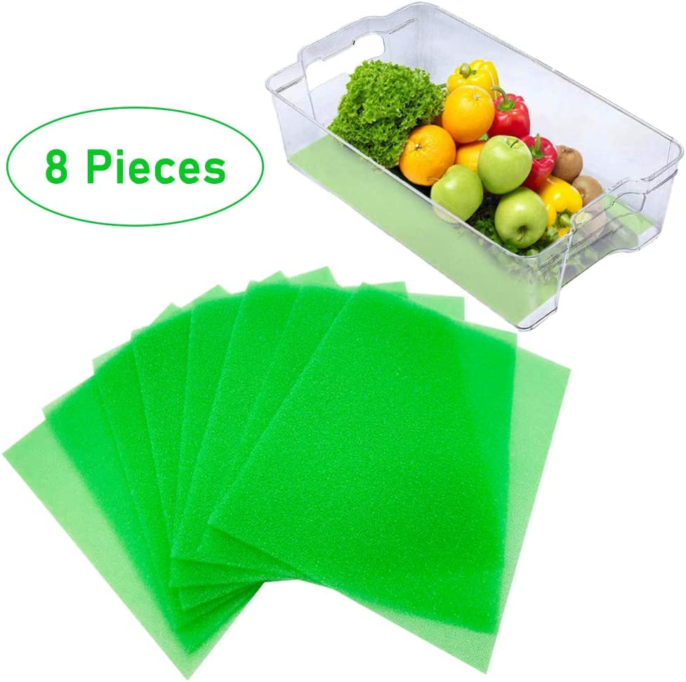 Szsrcywd 8 Pieces Fruit and Veggie Life Extender Liner,15 x 12 Inch Refrigerator Shelf Liners,Produce Saver Washable Life Extender Foam Mats for Fridge Refrigerator Drawers