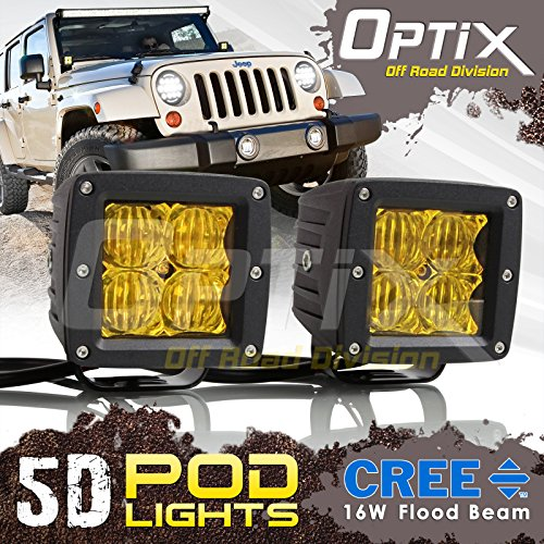 Optix 2x 16W 5D CREE LED Driving Light Bar Flood Fog Pod (Driving Yellow Lights)