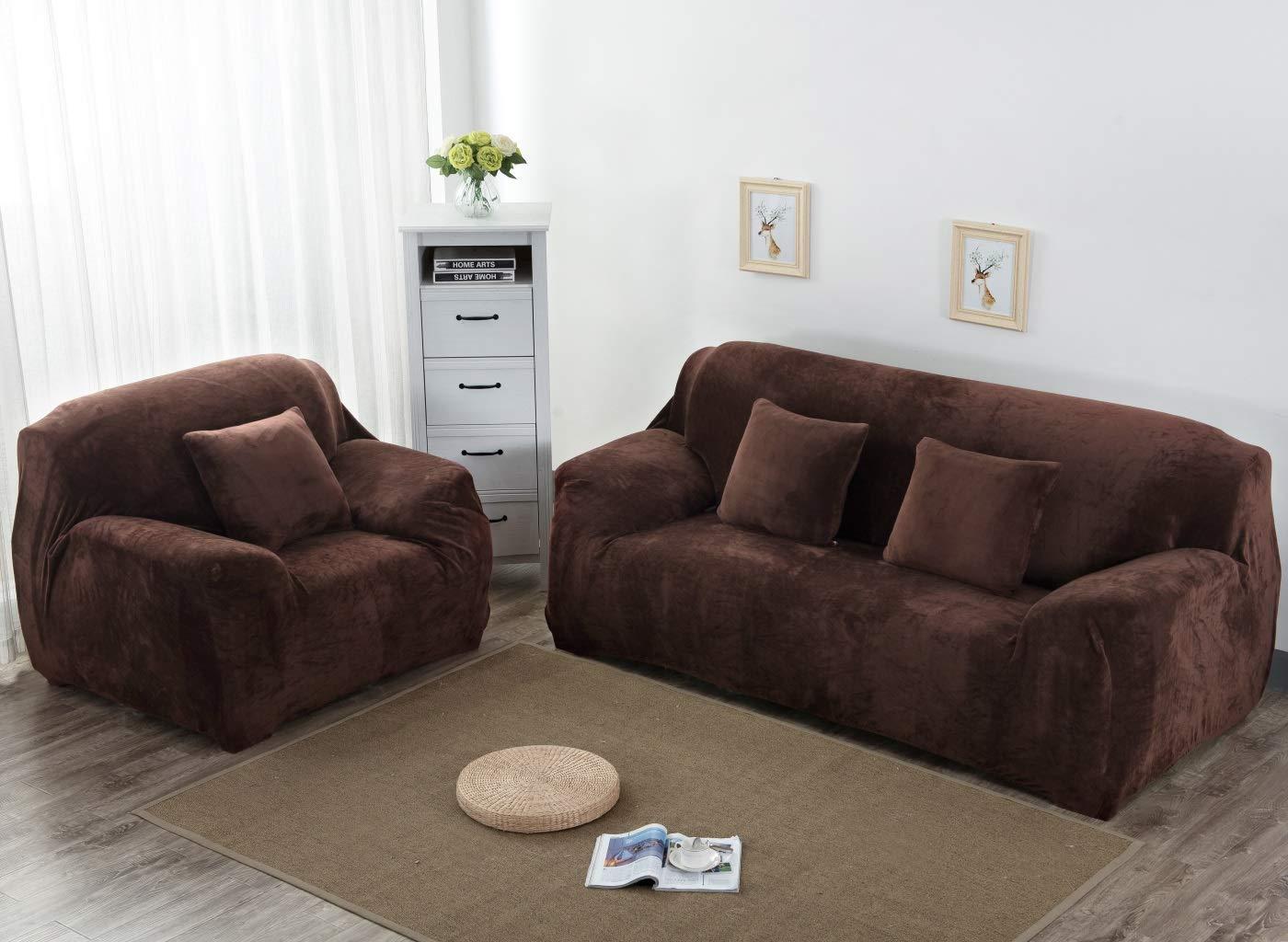 Aisaving Funda de sofá Gruesa de Terciopelo 1 2 3 4 plazas Funda de sofá elástica Antideslizante para Silla de Paseo o sofá, café, 3 ...