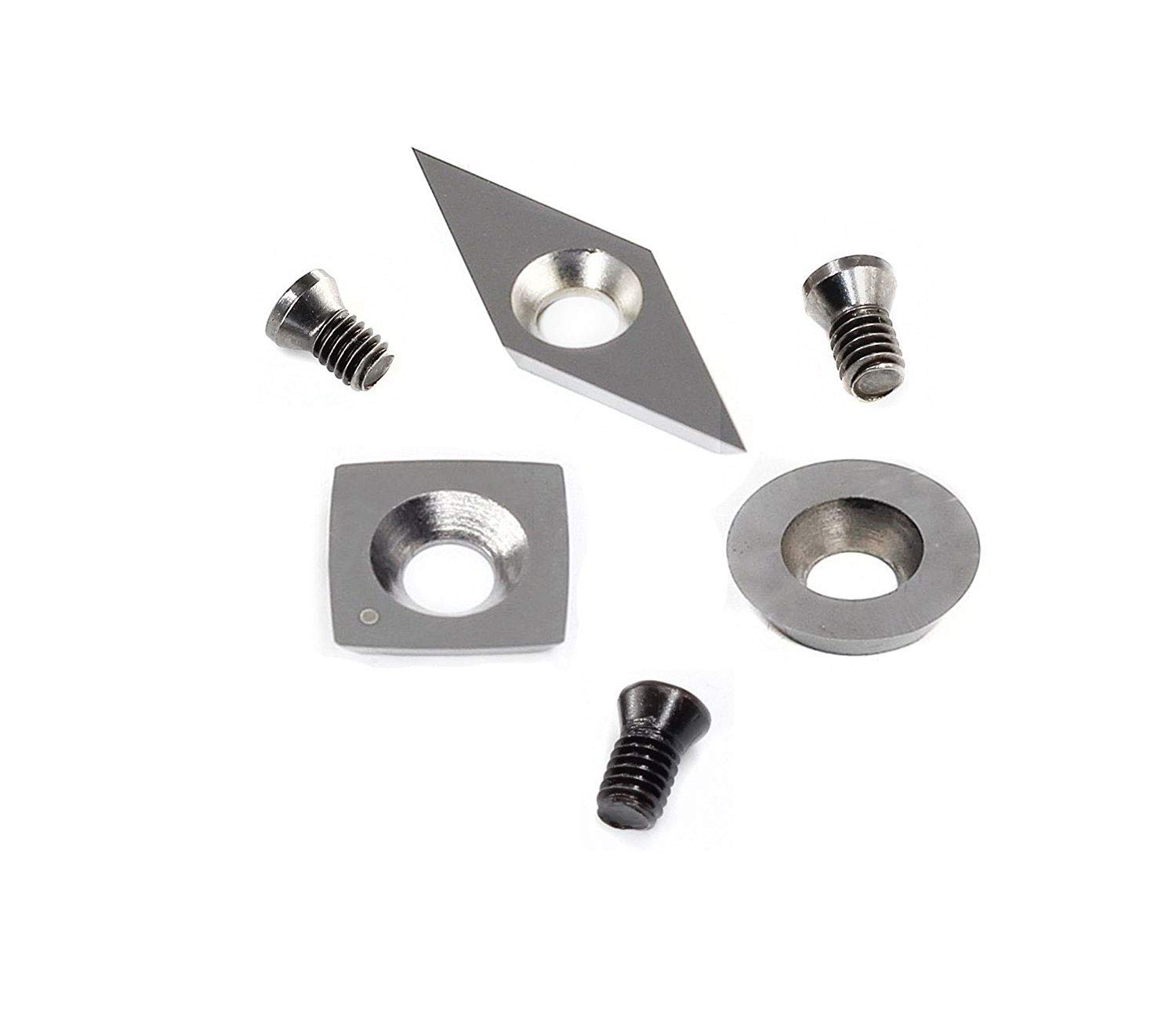 YUFUTOL 3pcs Tungsten Carbide Cutters Inserts Set for Wood Lathe Turning Tools(Include 11mm Square With Radius,12mm Round,28x10mm Diamond With sharp point),Supplied with Screws by YUFUTOL