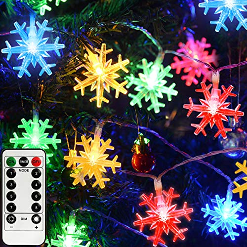 Homeleo 50LED Multicolored Christmas Snowflake Lights, Battery Powered Snowflakes LED Fairy String Lights for Winter Holiday Decoration Christmas Decor(Waterproof, Remote)