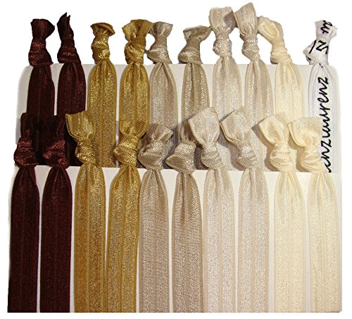 (Hair Ties Ponytail Holders - 20 Pack - Brown Ombre No Crease Ouchless Elastic Styling Accessories Pony Tail Holder Ribbon Bands - By Kenz Laurenz)