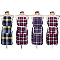 GLUN Waterproof Cotton Kitchen Apron with Front Pocket (Multicolour) Set of 4
