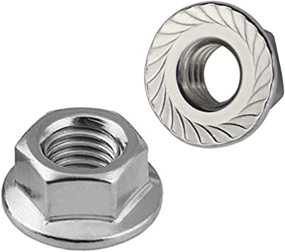 10 Pieces 304 Stainless Steel 5//16-18 Hexagonal Safety Nuts with Serrated Flange