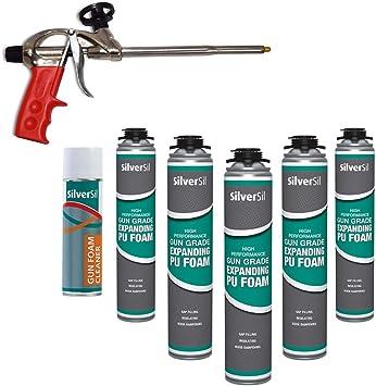 Xpert Pistola Pistola de espuma, de 5 x Ampliación Grado Espuma de poliuretano y 1 x Cleaner: Amazon.es: Bricolaje y herramientas