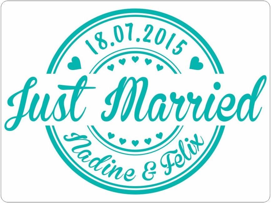 Hochzeitsgeschenk Magnetschild f/ür Auto Just Married in verschiedenen Farben mit Wunschnamen und Datum veredeln Sie Ihr Hochzeitsauto 2 St/ück 60 x 45 cm, schwarz
