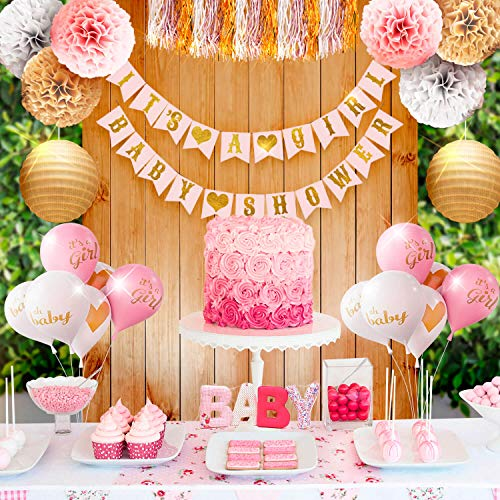 (Girl Baby Shower Party Decorations Pink, White and Gold Theme Decor Set with Banners, Balloons, Poms, Lanterns, Tassels and Sash (35)