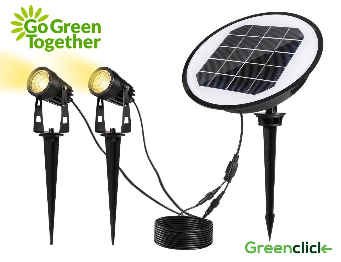 Solar Spotlights, GreenClick Waterproof IP65 Solar Powered Wall/Landscape Lights with Auto On/Off Sensor for Outdoor Patio Deck Yard Garden Driveway Pathway Pool (Warm White)
