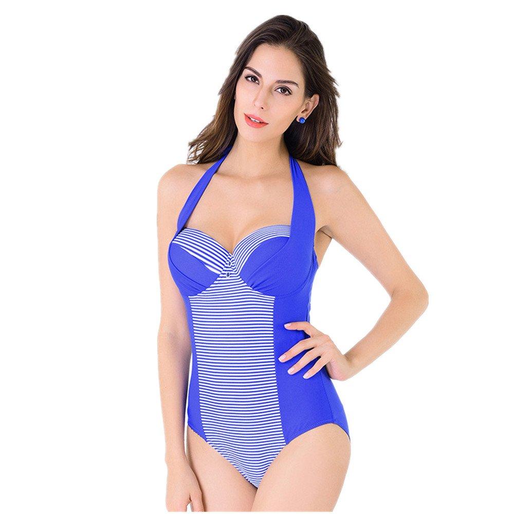 女性の 水着 シャム 水着 エクササイズ ストライプスーツ スパ バケーション水着 に適して 水泳 ウェディング エクササイズ スパ (Color : Royal Blue, Size : XXL) B07DYVBDY9 XX-Large|Royal Blue