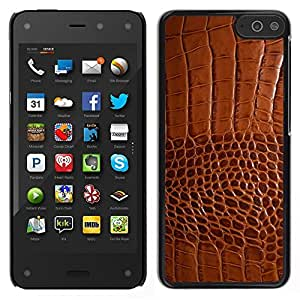 Impact Case Cover with Art Pattern Designs FOR Amazon Fire Phone Brown Leather Skin Imitation Faux Fabric Betty shop