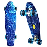 ANCHEER Mini Cruiser Skateboard Complete – 22″ Retro Plastic Skate Board, Perfect Gifts for Adult Youth Kids Boys Girls Age 4 Up
