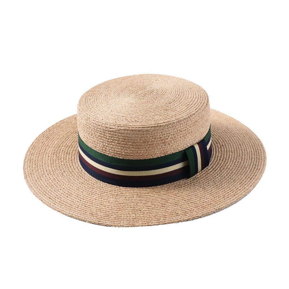 Light Khaki CNBEAUM Summer Retro Ladies Sun Hat Beach Raffia Sun Hat Striped Wide Top Hat