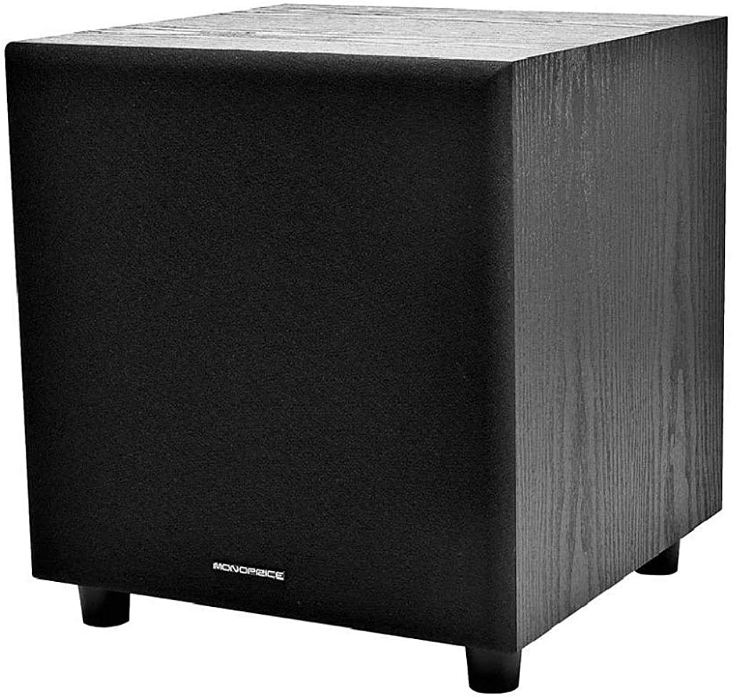 Monoprice 60-Watt Powered Subwoofer - 8 Inch With Auto-On Function, For Studio And Home Theater Black