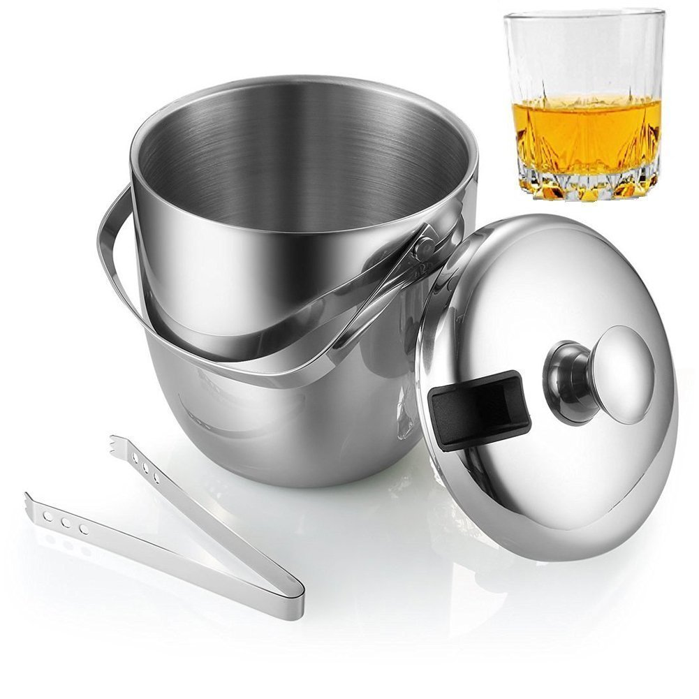 Fortune Candy Double Walled Ice Bucket,Beer Bucket for Parties,Stainless Steel Ice Tongs with Lid 2.8L/2.7 Quart (Silver) by Fortune Candy (Image #7)