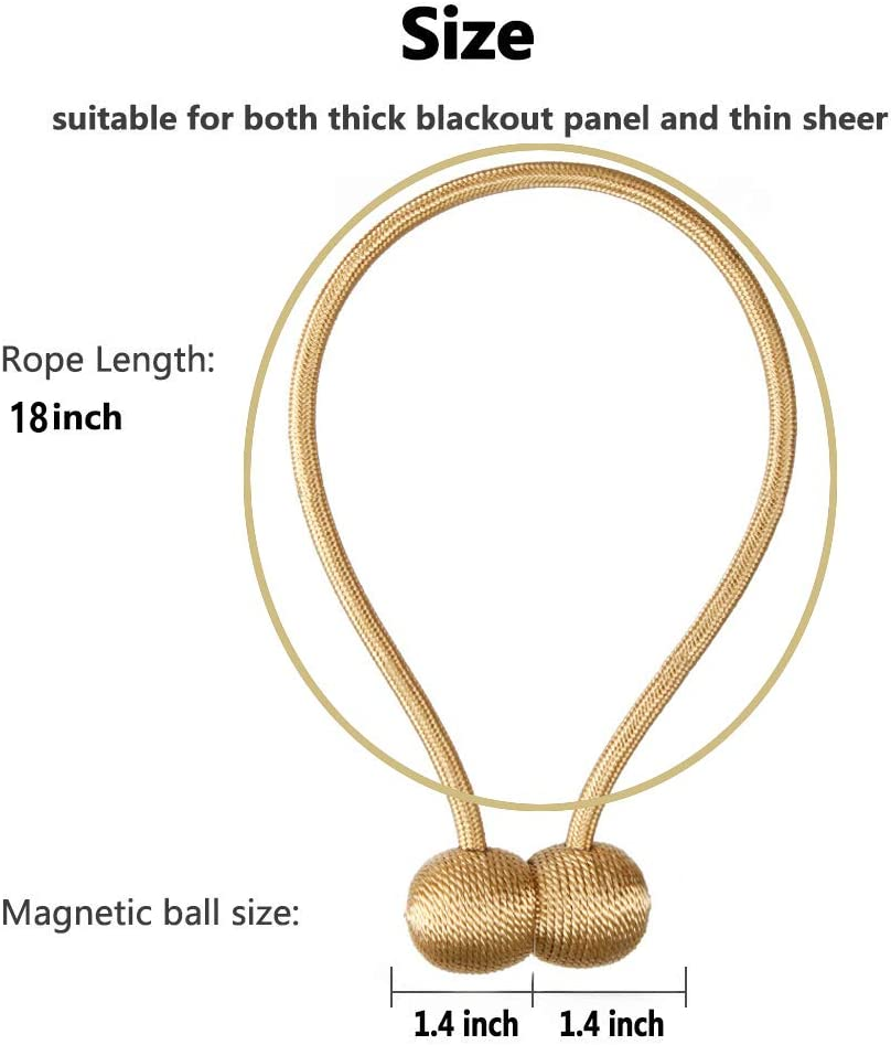 4 Pack Gold BABALI Magnetic Curtain Tiebacks Decorative Curtain Holdbacks Convenient Rope Holdbacks for Home Office Thick Sheer Outdoor and Indoor Curtains