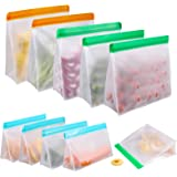 Reusable Food Storage Bags 10 Pack, Stand Up FDA Grade Leakproof Reusable Freezer Bags, 2 Reusable Gallon Bags + 4 Reusable S