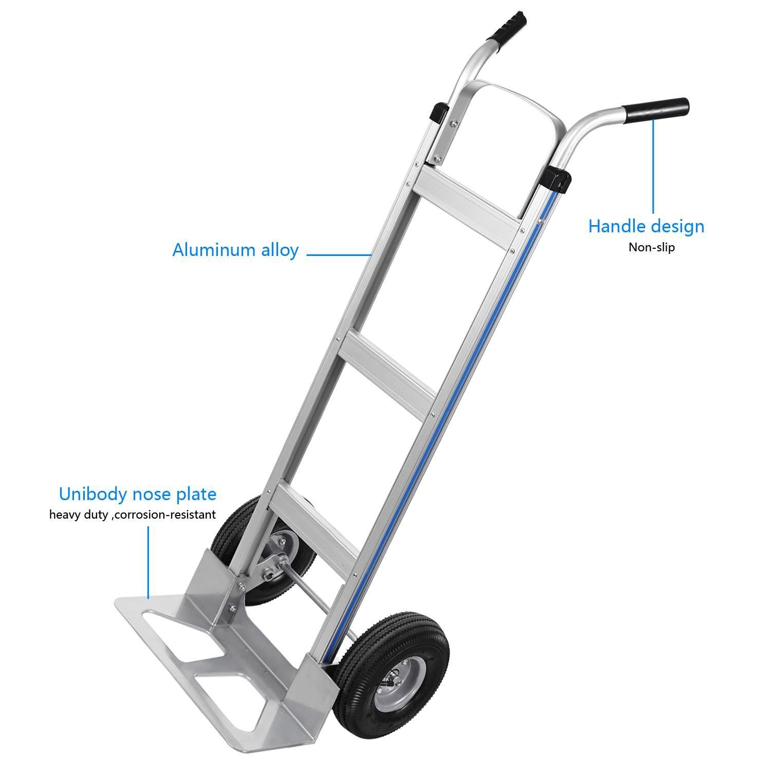 Ferty Aluminum Hand Trucks 500LBS With 2 Pneumatic Tires Dolly, Double Pistol Grip Handle Heavy Duty Trolley/Cart With 2 Wrench by Ferty (Image #6)