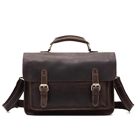 AFCITY maletín para Ordenador portátil Bolso de Hombro de la Cartera de Cuero de la Cremallera