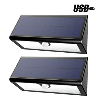 Lámpara LED GrandBeing Aplique 46 LED de Pared con Panel Solar (4400mAh Batería Litio Recargable