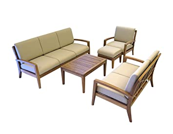 ohana teak patio furniture 6 seater conversation set with cushions 6 seater