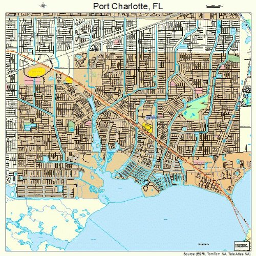 Large Street & Road Map of Port Charlotte, Florida FL - Printed poster size wall atlas of your home - Charlotte Port