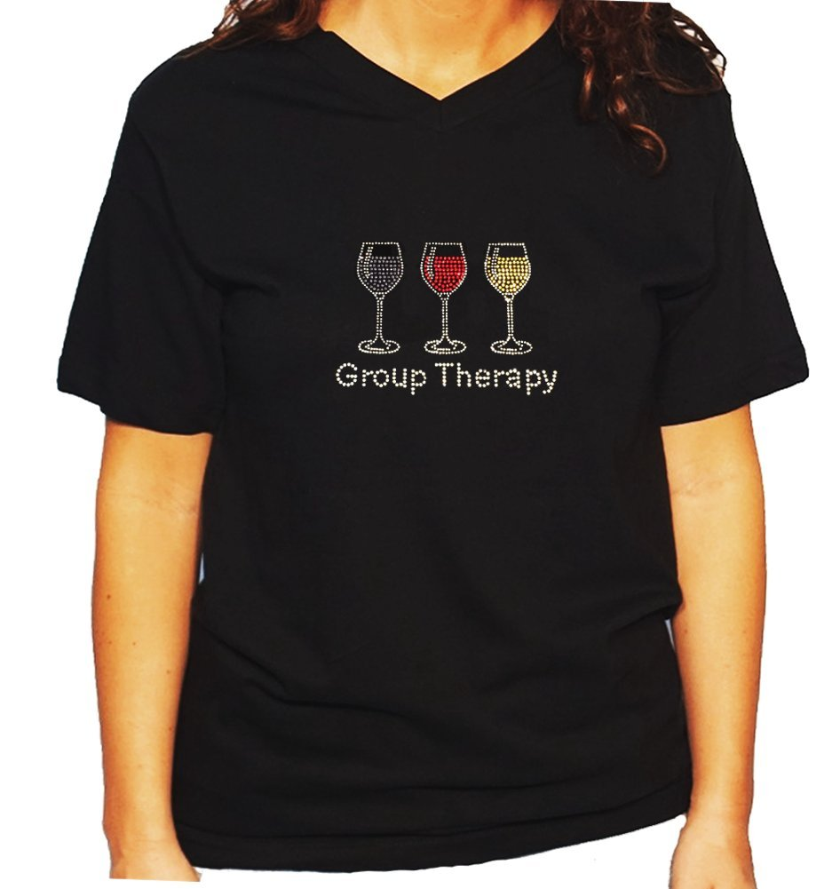 Women's / Unisex T-Shirt with Group Therapy with Wine Glasses in Rhinestones (Large, Black V-Neck)