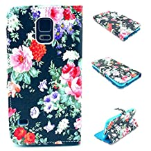 Galaxy S5 Case,S5 Case, Kmety Cute Fashion Black Flowers Graphic Magnetic Snap Wallet Flip PU Leather With Stand Cover Case for Samsung Galaxy S5