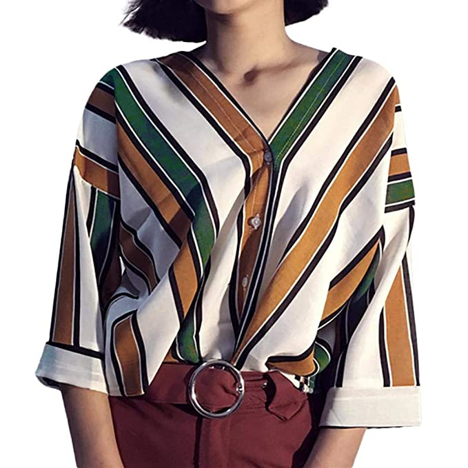 Moda Mujeres,PANY Camisas Blusa Tops Raya Informal Botones de Arriba Camiseta Top Blusa de