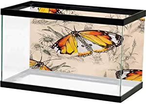 bybyhome HD Aquarium Background Butterfly,Cartoon Style Vibrant Color Animals on Dark Background with Shadows Retro,Grey Multicolor Multiple Sizes