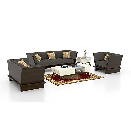 Funterior 3 2 1 Elegant Carved Wooden Fabric Sofa Set Cloudy