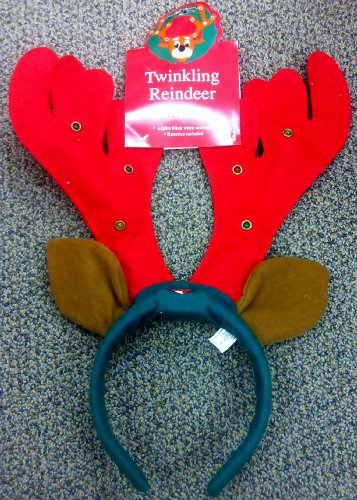 [Twinkling Reindeer Antlers Christmas Holiday Accessory] (Happy Feet Penguin Costumes)