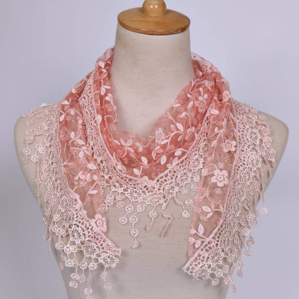 HYIRI Women Lace Sheer Floral Scarf Shawl Wrap Tassel Scarf