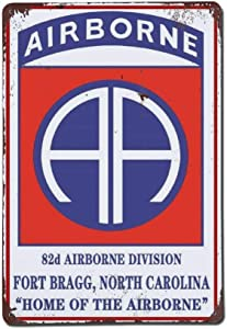 Paratroopers 82nd Airborne Division Emblem Fort Bragg North Carolina Poster Retro Aluminum Metal Tin Sign Wall Decor Art Military Fan Sign Wall Sign Plaque 8x12 Home Bar Pub Decorative Sign