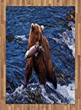 Africa Area Rug by Lunarable, Wild Bear in the Water with a Fish in His Mouth at the Katmai National Park Scary, Flat Woven Accent Rug for Living Room Bedroom Dining Room, 5.2 x 7.5 FT, Blue Brown