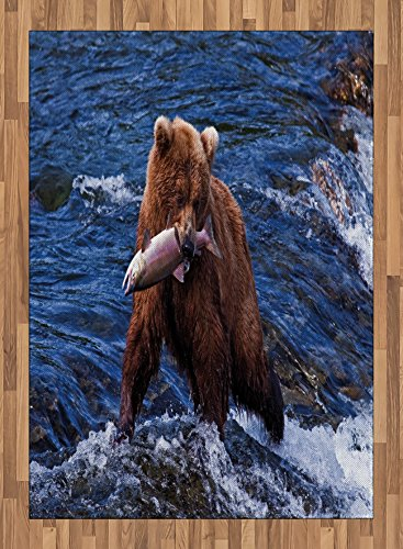 Africa Area Rug by Lunarable, Wild Bear in the Water with a Fish in His Mouth at the Katmai National Park Scary, Flat Woven Accent Rug for Living Room Bedroom Dining Room, 5.2 x 7.5 FT, Blue Brown by Lunarable