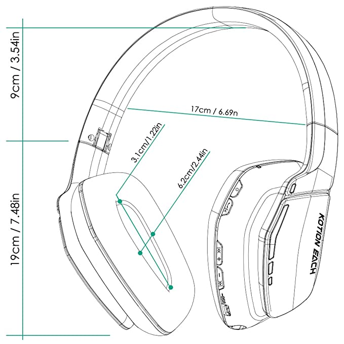 kotion each b3506 wireless headset v4 1 bluetooth foldable hifi Stereo Headphone Jack Wiring kotion each b3506 wireless headset v4 1 bluetooth foldable hifi stereo over ear headphones with built in microphone for pc ps4 tablet smart phones mp4